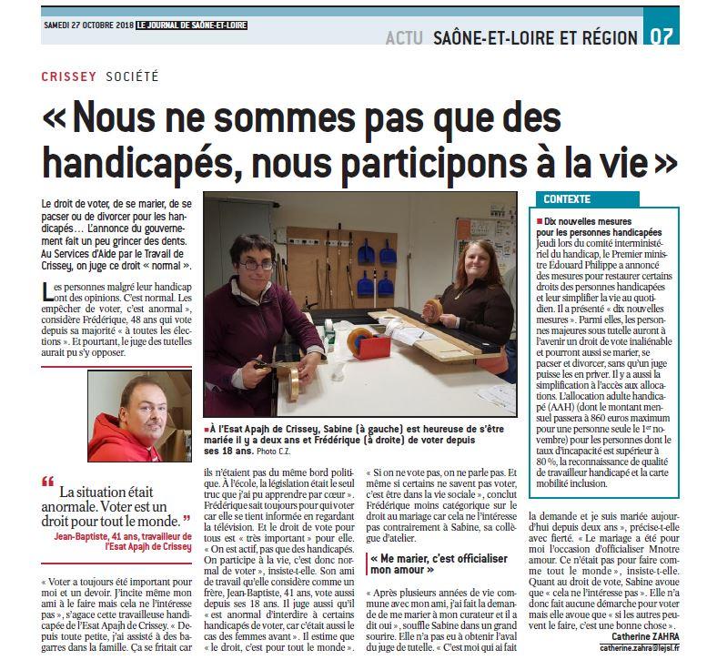 extrait du journal de Saône et Loire